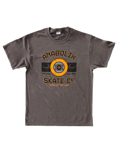 Anabolix Wheel T-Shirt - Dark Heather Grey - Orange Wheel