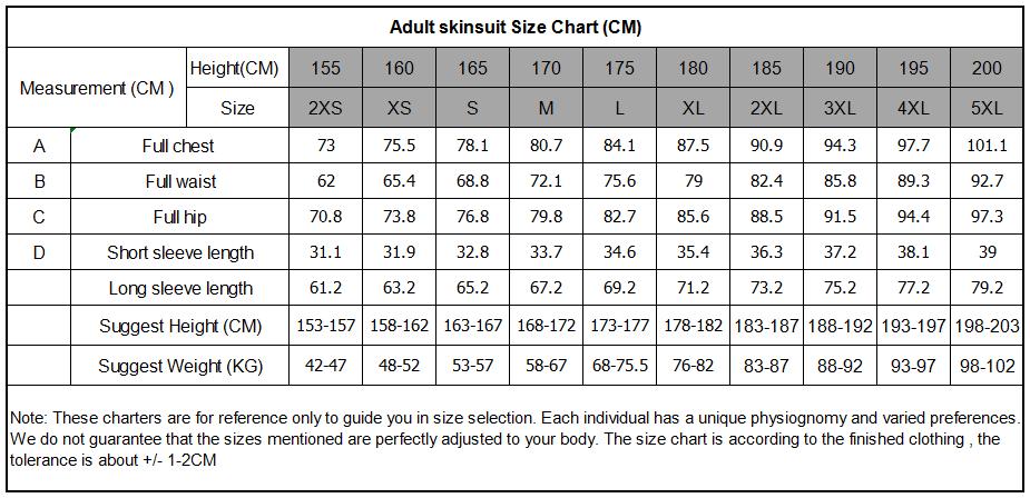 adult suit size chart